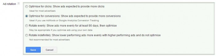 google adwords ad rotation