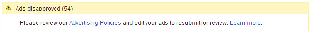 google adwords ads disapproved