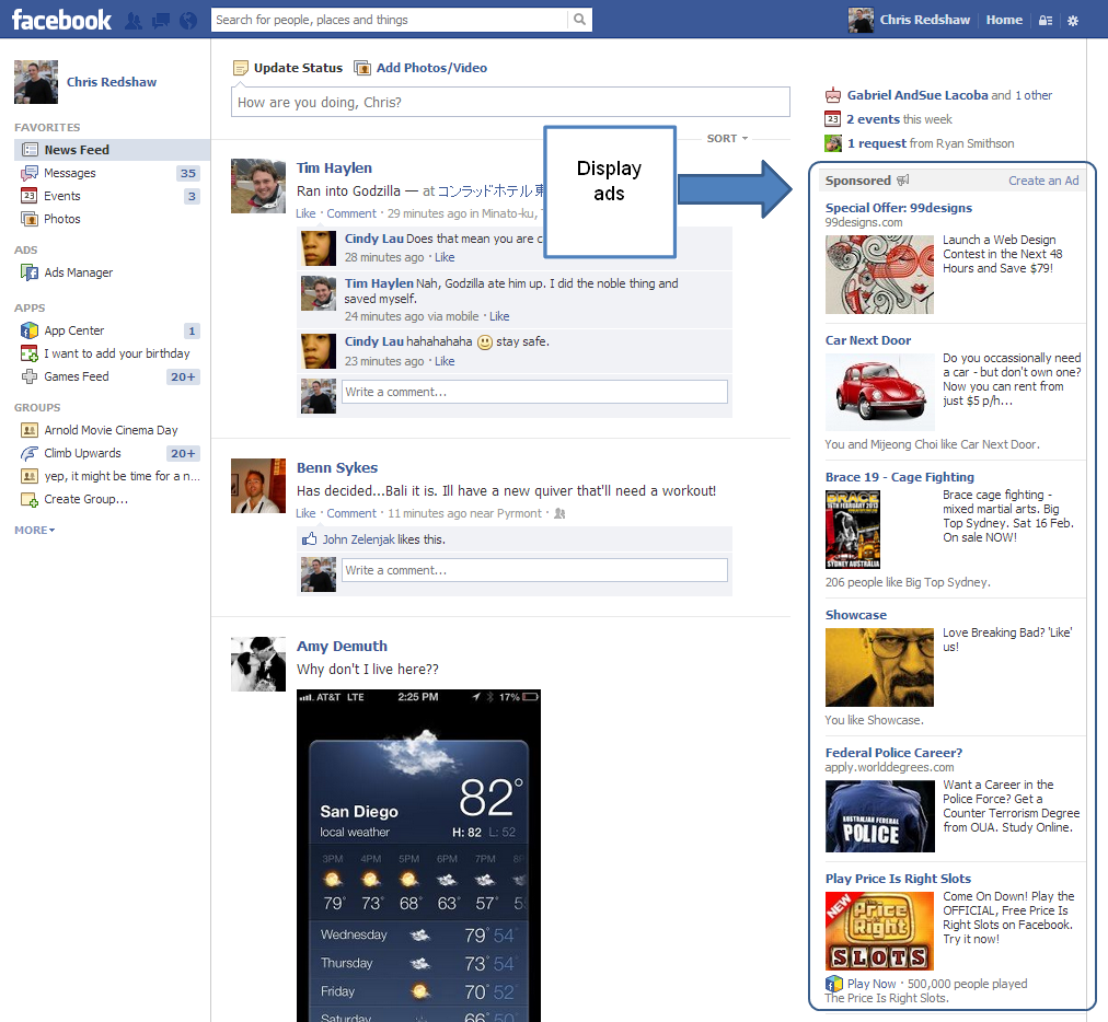 Facebook display ads example