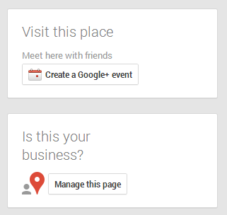Google Plus screenshot for local listing