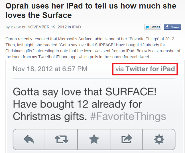 Oprah tweets about Surface from iPad