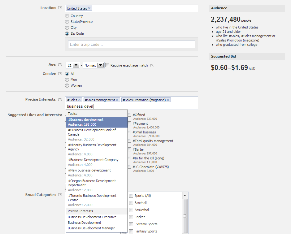 targeting sales and business development professionals with Facebook advertising