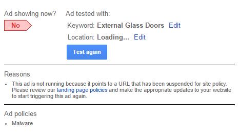ad malware diagnostic screenshot