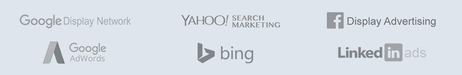 Logos for Google, Yahoo! Bing, Microsoft AdCenter