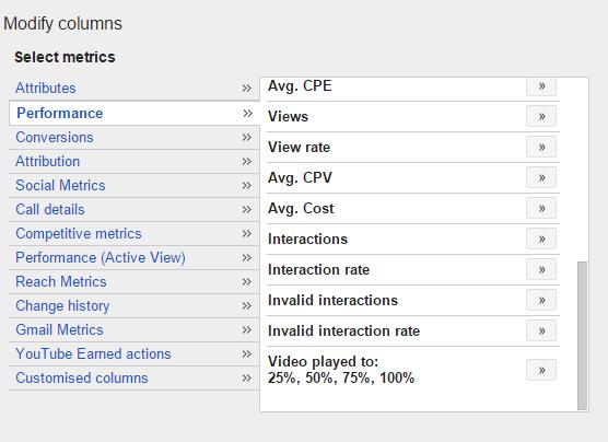 new perfoirmance metrics in columns