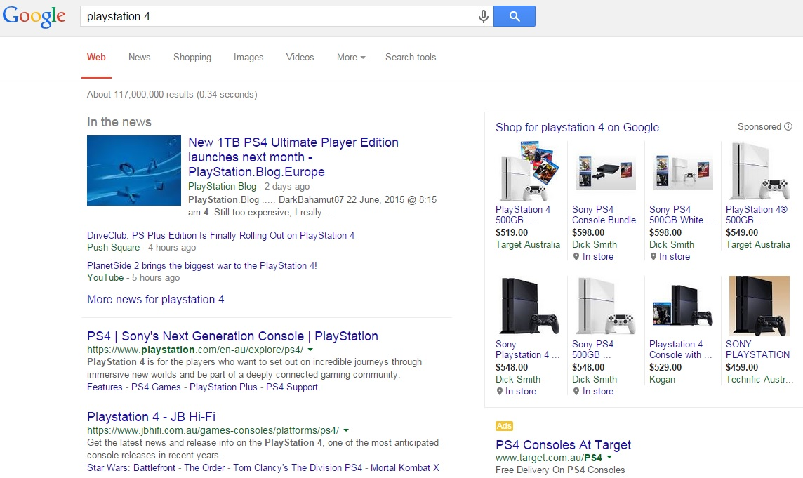 playstation 4 search