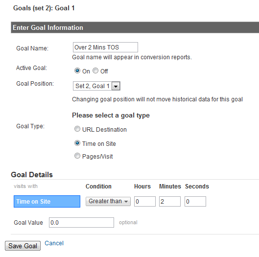 Screenshot of Google Analytics engagement goals
