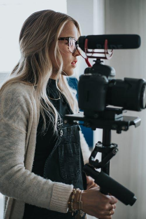 woman working with camera