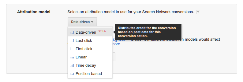 drop down menu of attribution model options