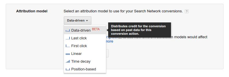 drop down menu of attribution model options