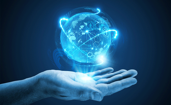 hand with digital globe