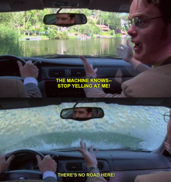Michael and Dwight from the office drive into a lake due to gps directions
