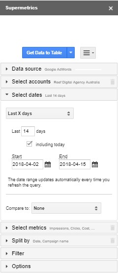 supermetrics date range screenshot