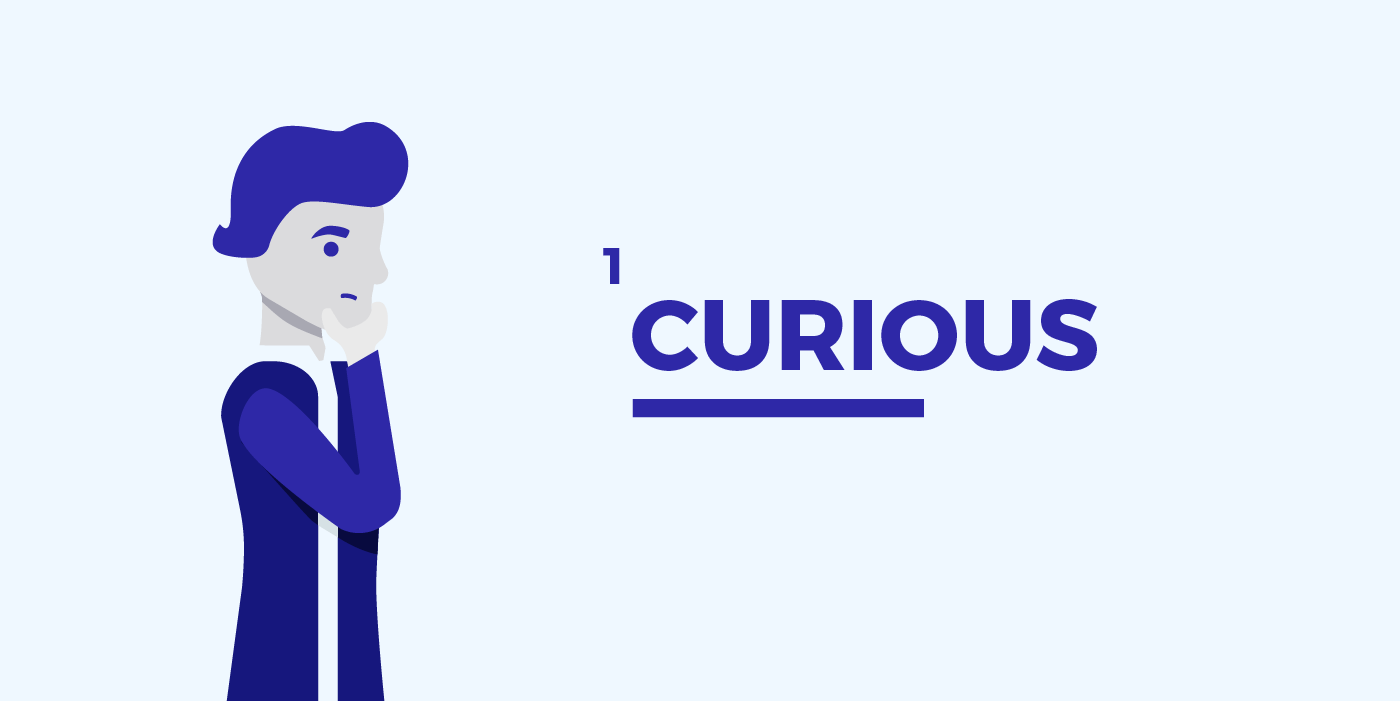 illustration of a person with the headline curious
