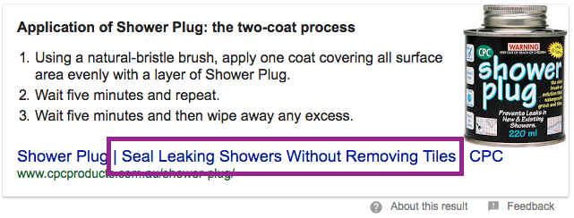 Showerplug featured snippet screenshot title