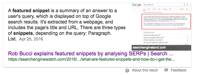 paragraph featured snippets