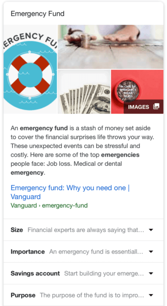 emergency fund featured snippet