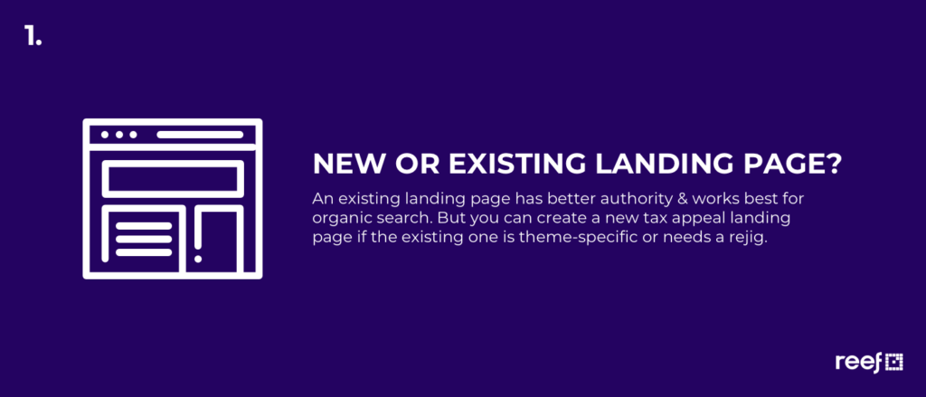 new page or existing landing page