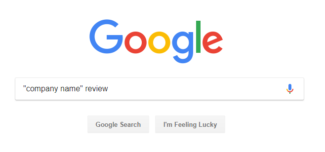 google search box with 'company name review' written in it